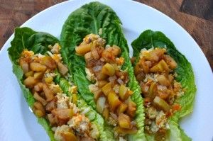 Cinnamon-Ground-Turkey-with-Cauliflower-Rice-on-Lettuce-Wraps-topped-with-Quick-Apple-Chutney-2-realhealthyrecipes